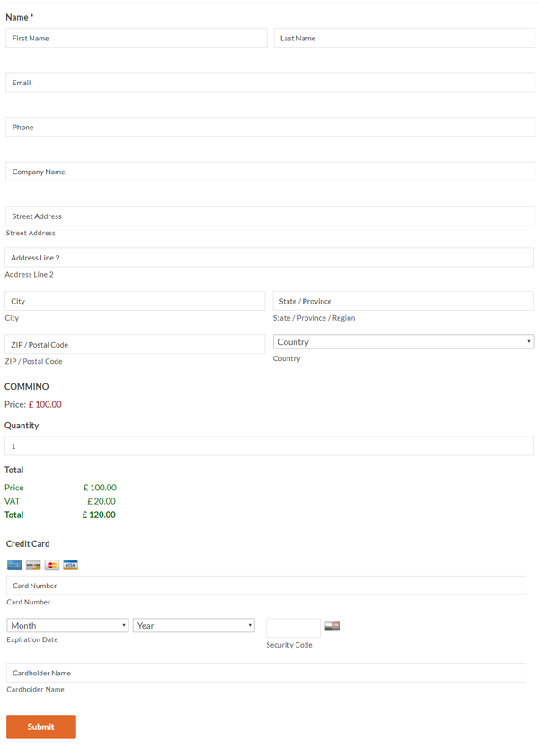 online payment form